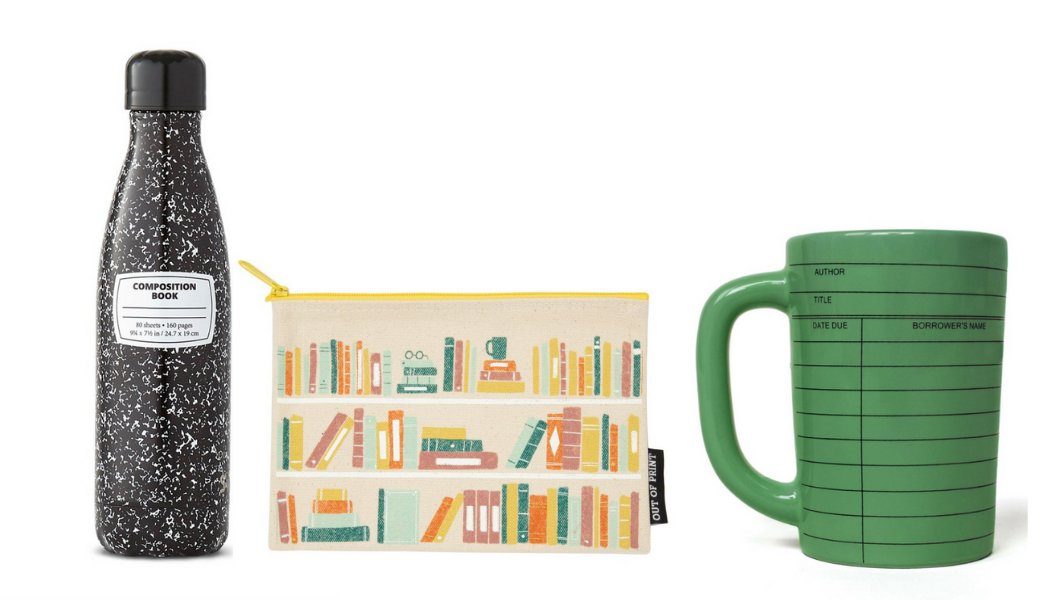 Water bottle decorated as black composition notebook, coin purse decorated with book shelves, green mug printed with due date slip